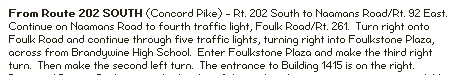 directions to foulk road from rt 202 south