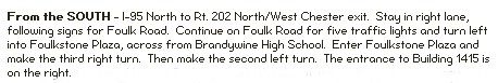 directions to foulk road from south